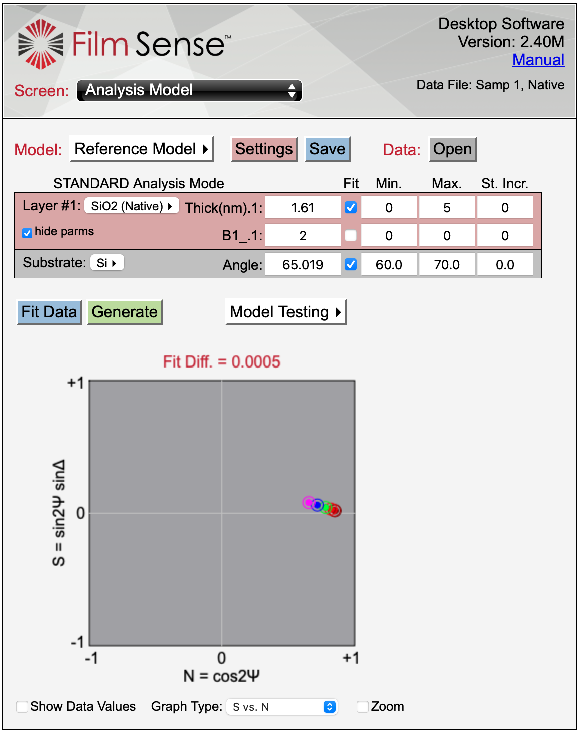 2nm Native Oxide on Si Optical Model-1 - Thin Film Measurement