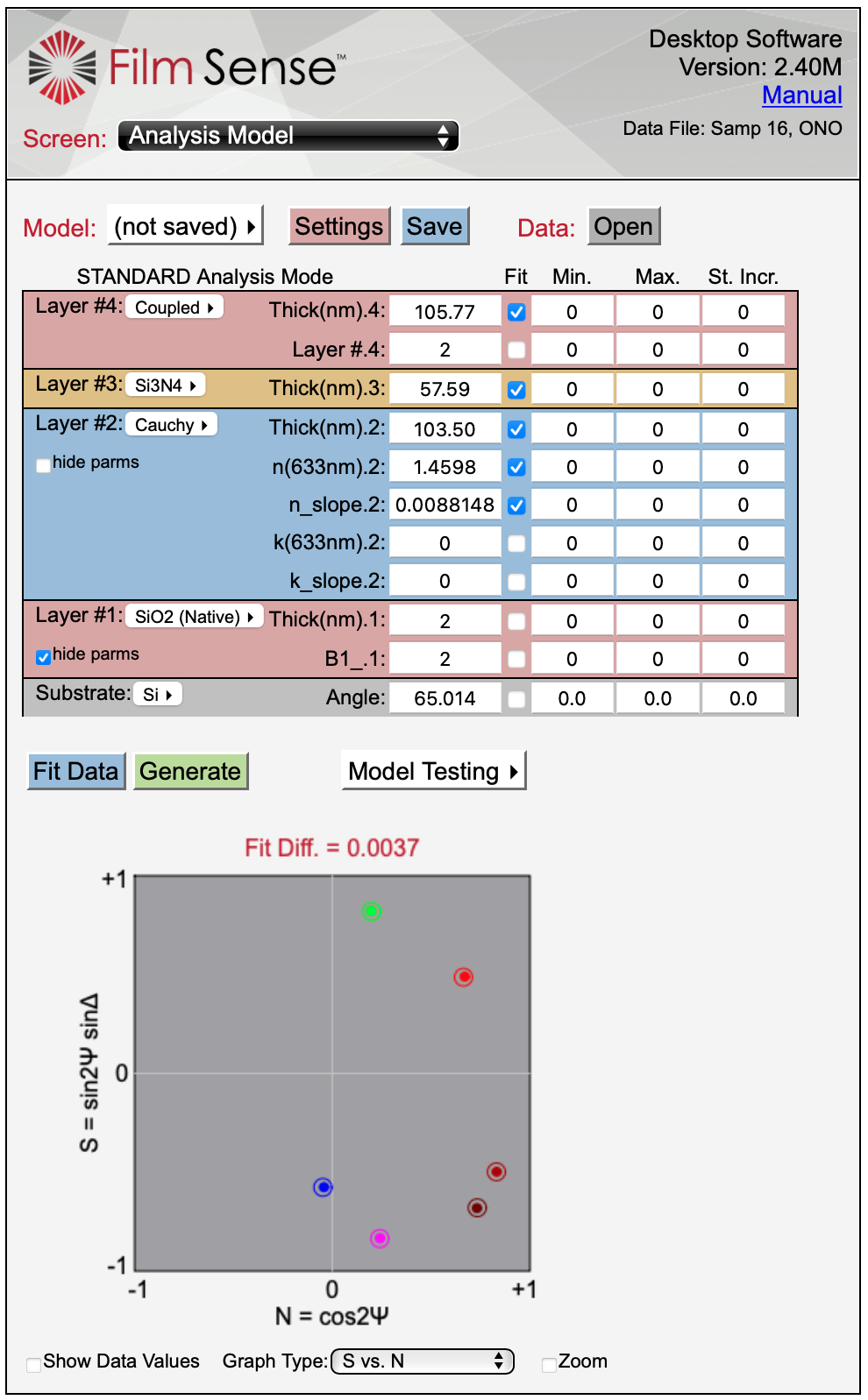 1000 nm Oxide on Si Optical Model-2 - Thin Film Measurement